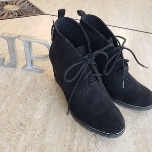 SO faux Suede black wedge booties Size 7